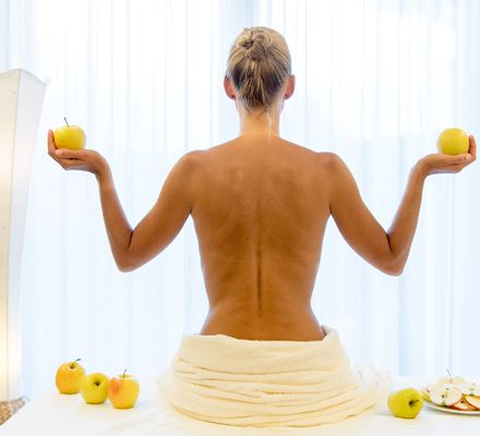 Apple Spa treatments at Hotel Wiesenhof near Merano.